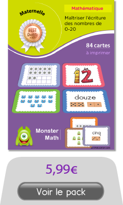 Cartes memory des nombres de 0 à 20 Maternelle - Monsters Math